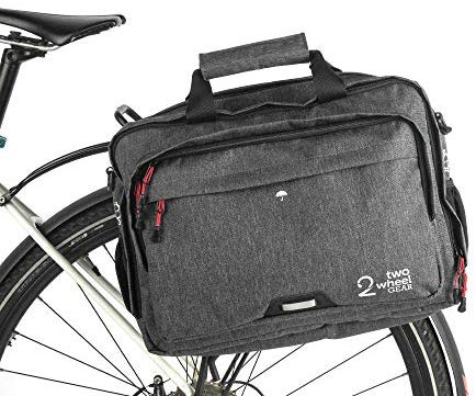 Two Wheel Gear - Pannier Briefcase Convertible - Waterproof Coated - 2 in 1 - Bike Commuting & Laptop Bag