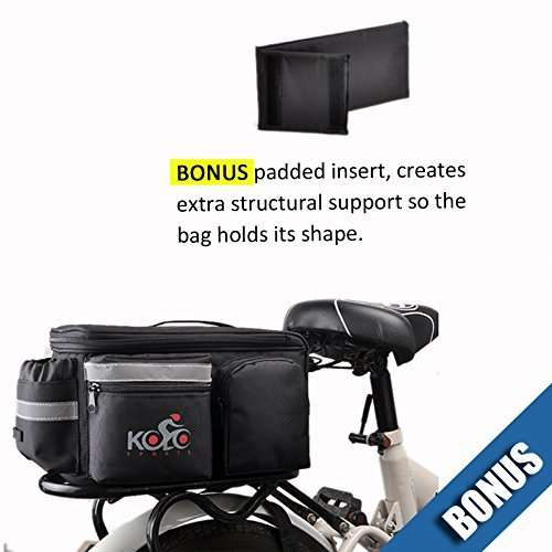 UPGRADE Aug '19: Bike Pannier Bag | Durable & Waterproof Nylon With Extra Padded Foam Bottom & 3 Side Reflectors | Shoulder Strap Rack Rear Trunk Tote Bag | Strong Velcro, Zipper Pockets & Bottle Case
