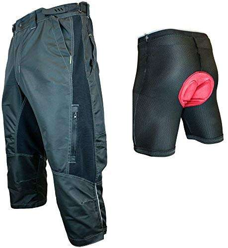 Urban Cycling Apparel The Gravel II 1/2 Pants - Long Mountain Bike MTB Baggy Shorts with Magnet Pockets, Vents, and Dry-Fast
