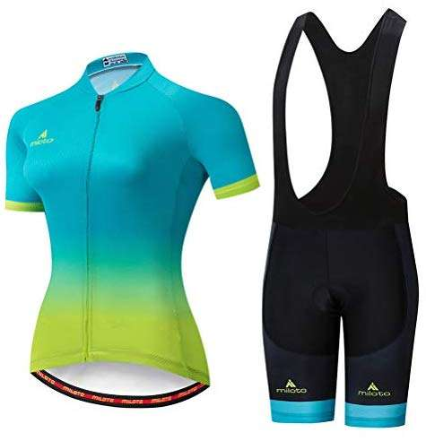 Uriah Women's Cycling Jersey Bib Shorts Black Sets Short Sleeve Reflective