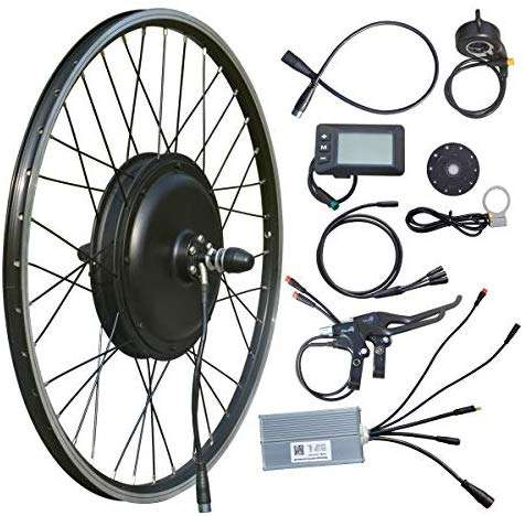 "VTUVIA 48V 1000W Electric Bike Conversion Kit, 26"" x 1.75"" Rear Wheel Hub Motor Waterproof E-Bike Kit with LCD Display, Intelligent Controller and PAS System for Road Bicycle"
