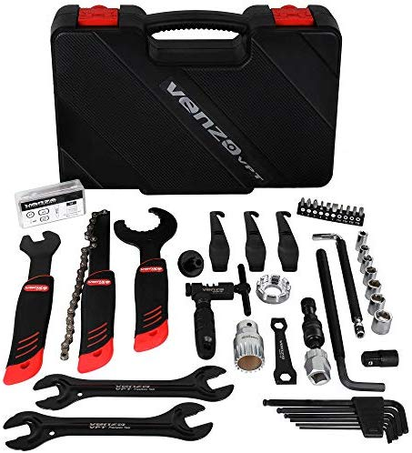 Venzo Bike Bicycle Repair Tool Kit - Quality Tools Kit Set for Mountain Bike Road Bike Maintenance in a Neat Storage Case Box