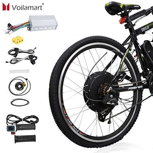 "Voilamart 26"" Rear Wheel Electric Bicycle Conversion Kit, 48V 1500W E-Bike Powerful Hub Motor Kit with Intelligent Controller and PAS System, Restricted to 750W for Road Bike"
