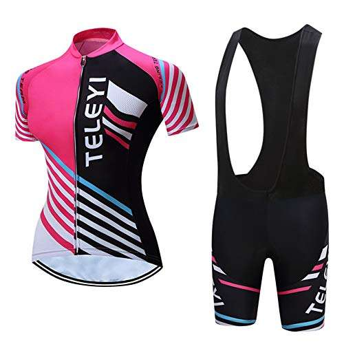 Women's Cycling Jersey,Bicycle Short Sleeve, Youth Mountain Bike Wear MTB Bicycle Pad Bib Shorts,Quick Dry
