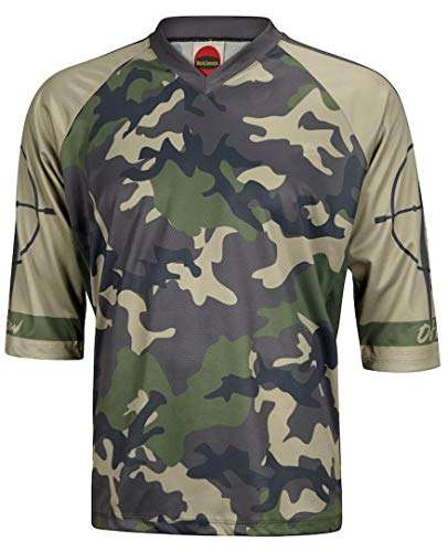 World Jerseys Outlaw Camo Green Men's 3/4 Sleeve Mountain Bike Jersey
