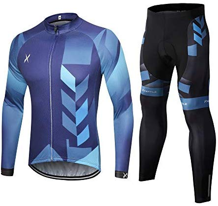 Xtextile Men's Cycling Jersey Set with Full Zipper Long Sleeves Bicycle Shirt and 4D Coolmax Padded Cycling Tights Leggings