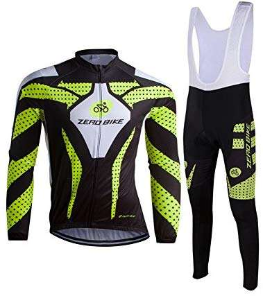 ZEROBIKE Men's Outdoor Breathable Sports Long Sleeve Cycling Jersey and 3D Padded Braces Tights Bib Pants Set