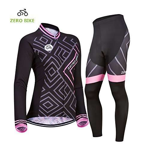 ZEROBIKE Women's Breathable Long Sleeve 3D Gel Padded Bicycle Cycling Suit Mesh Cloting Pants Set UV Protective