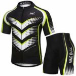 nine bull Men's Cycling Jersey Set - Reflective Quick-Dry Biking Shirt and 3D Padded Cycling Bike Shorts