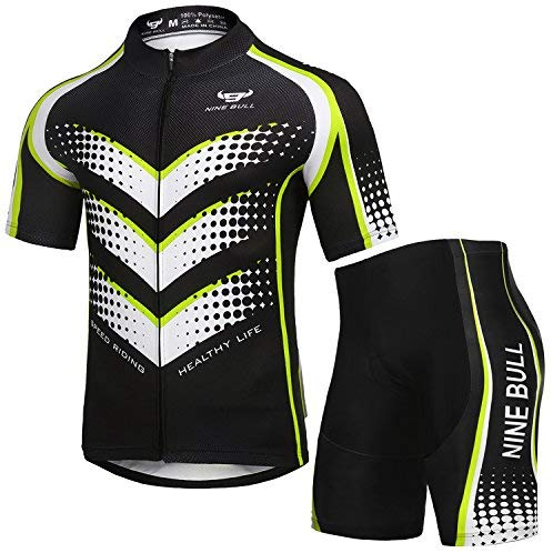 nine bull Men's Cycling Jersey Set - Reflective Quick-Dry Biking Shirt and 3D Padded Cycling Bike Shorts