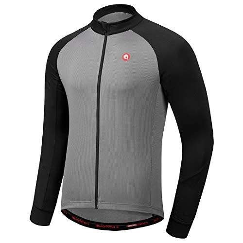 qualidyne Men's Cycling Bike Jersey Full Zipper Long Sleeves with Pockets,Road Bicycle MTB Bike Shirt