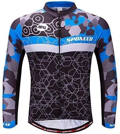 sponeed Men's Bicycle Shirts Long Sleeve Biker Jerseys Full Zipper Winter Cycling Gear Breathable
