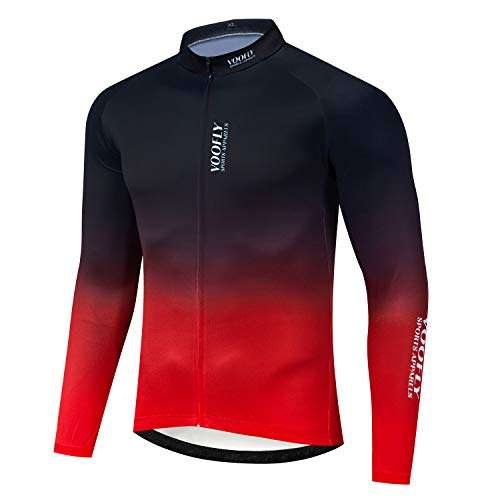 voofly Men's Bike Jersey Long Sleeve Cycling Shirts with Pockets Reflective Full Zipper MTB Bicycle Wear