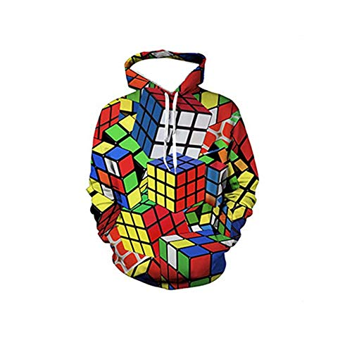wuliLINL Neutral Full Rubik Cube Hoodie 3D Printed Sweatshirts Long Sleeve Pullovers with Pocket