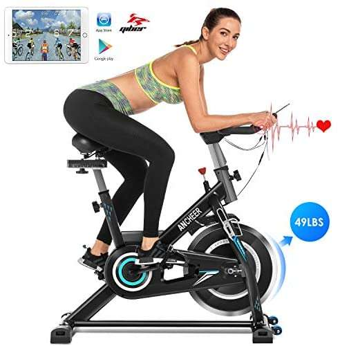 ANCHEER Indoor Cycling Bike, Stationary Exercise Bike with Heart Rate Monitor, Comfortable Seat Cushion, 49LBS Heavy Flywheel, Adjustable Seat and Handlebar, APP Control