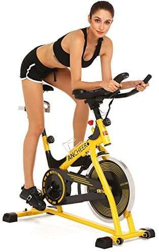 ANCHEER Indorr Cycling Bike Stationary, Quiet Smooth Belt Drive System Flywheel Exercise Bike with Heart Rate and LCD Monitor, Adjustable Seat and Handlebars & Base for Home Workout