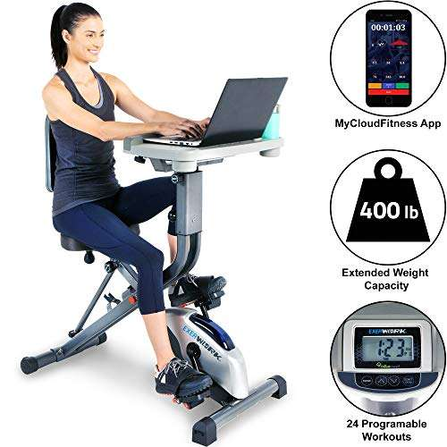 EXERPEUTIC EXERWORK 2000i Bluetooth Folding Exercise Desk Bike with 24 Workout Programs and Free App