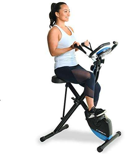 Exerpeutic Bluetooth Smart Foldable Bike with Resistance Bands and Free MyCloudFitness App, Black Folding Bike