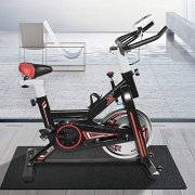 HCLINK Indoor Cycling Bike Stationary Exercise Bike with LCD Display, Heart Rate Adjustable and Comfortable Seat Cushion, Gym CardioFitness Machine Upright Bike (Black Red)