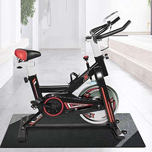 HCWORLD Exercise Bike, Indoor Cycling Bike Stationary, Adjustable Resistance Workout, Multi-Grip Handlebars and Bottle Holder, for Home Aerobic Exercise