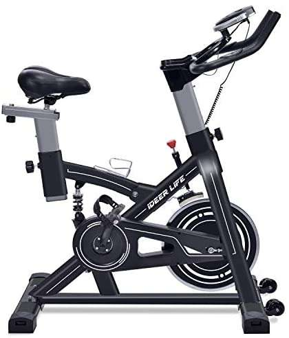 IDEER LIFE Exercise Bike Stationary Indoor Cycling Bike, Heavy Duty Exercize Bike,Adjustable Indoor Cardio Exercise Bike for Home Gym,Belt Drive,w/Pulse Sensor&LCD Monitor,Max Capacity:330lb
