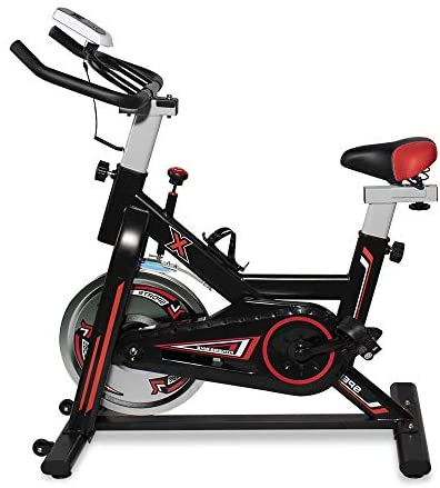 MIERES  Cycling Exercise Bike, Fitness Trainer Smooth Bicycle Stationary, Health Workout Indoor with Water Bottle Holder and Soft Saddle,Wheel, Black Red