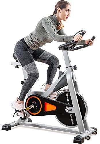 Merax Indoor Cycling Bike - Stationary Exercise Bike with LCD Monitor, Phone Holder and Oversize Soft Saddle