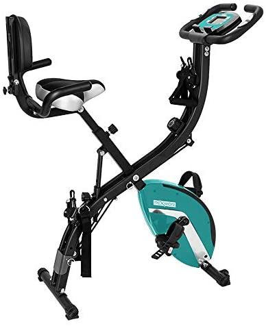 PEXMOR 3 in 1 Adjustable Folding Exercise Bike Convertible Magnetic Upright Recumbent Bike with Arm Bands and Leg Bands