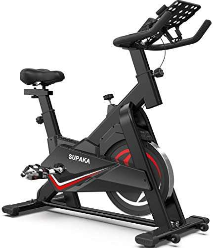 SUPAKA Spin Bike, Indoor Cycling Bike Stationary, Exercise Bike for Home Cardio Gym, with Magnetic Resistance, 35 LBS Flywheel, Thickened Frame Upgraded Version