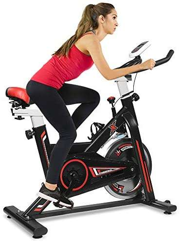 Suwikeke Exercise Bikes Stationary-Indoor-Cycling-Bike,Adjustable Seat&Handlebar,Health Workout with Water Bottle Holder and Soft Saddle Bike ,Black Red