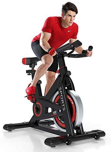 Yoleo Exercise Bikes (2020 New Version), Indoor Cycling Bike, Stationary, Bidirectional Flywheel, Silent Belt Drive, Infinite Resistance, LCD Displays, Handlebar, Pulse Sensor