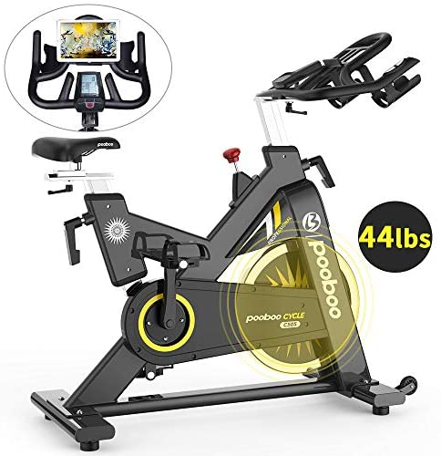 pooboo Exercise Bike Indoor Cycling Bike Stationary Bike-Belt Drive Cardio Bike with 44LBS Flywheel