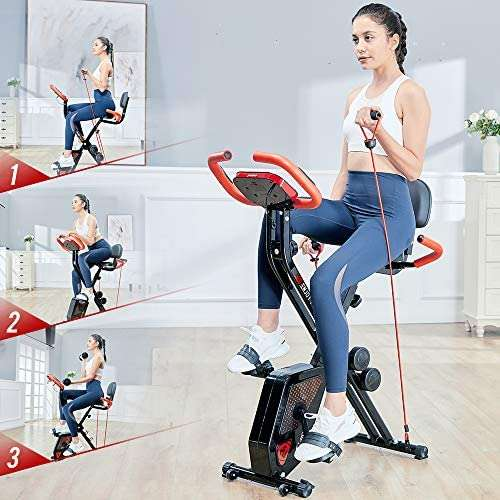 pooboo Folding Exercise Bike Indoor Cycling Bike Magnetic Upright Bike Stationary Bike with Dumbbells,Pull Rope,Pulse