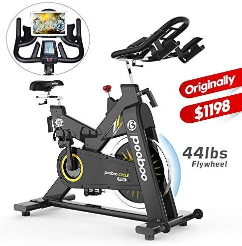 pooboo Indoor Cycling Bike Exercise Bike Stationary Commercial Standard with 44lb Flywheel,Ipad Mount,Soft Cushion,LCD Display,Belt Drive Smooth and Quiet