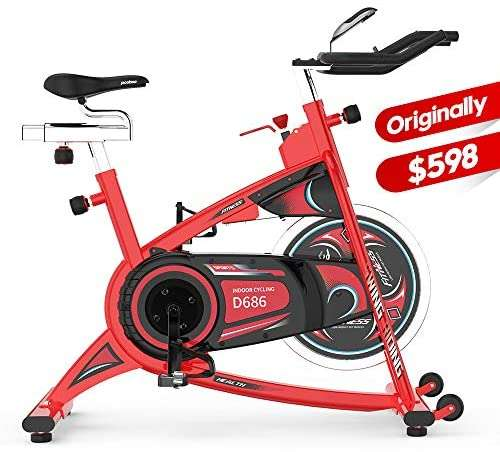 pooboo Stationary Exercise Bike Indoor Cycling Bike with LCD Display and Heavy-Duty Flywheel for Cardio Workout